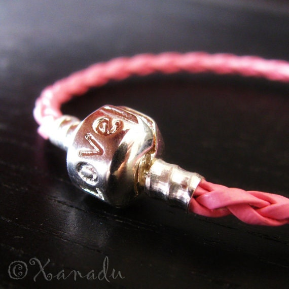 7.5in (19cm) Pink Braided Leather European Style Charm Bracelet With Love Clasp - For Large Hole European Bead Charms