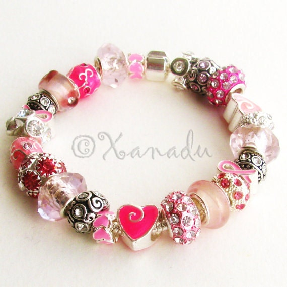 Pink Warrior Breast Cancer Awareness European Charm Bracelet - Pink Glass, Enamel Beads And Silver Charms on Snap Clasp Style Chain