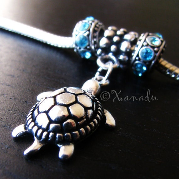 Fancy Silver Turtle Charm And Birthstone Crystal Spacer Beads For European Charm Bracelet - Gift For Her