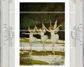 Vintage Fairy Dancing Princess Print Victorian Nursery Girls Bedroom Baby Wall Art Home Decor Picture Shabby Chic Princess Ballet ff 109