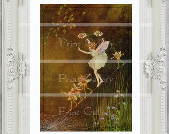 Antique Victorian Fairy Print Vintage Nursery Girl Bedroom Baby Pixies Spider Web Home Decor Old Art Picture Shabby Chic Princess ff 111