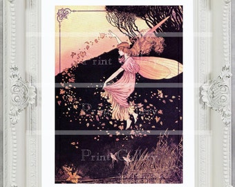Fairy Print Autumn Fall Nursery Bedroom Antique Victorian Fairy Art Decor Shabby Chic Princess Autumn Leaves Pink Yellow Brown ff 114