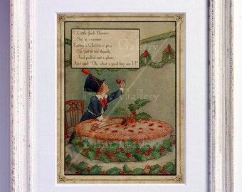 Nursery Rhyme Picture Little Jack Horner Print Wall Art Old Book Page Boy Girl Bedroom Kids Babys Room Antique Decor Vintage nr 166