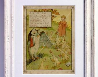 Nursery Rhyme A B C D E F G Cs Print ABC Wall Art Old Book Page Boy Girl Bedroom Kids Babys Room Antique Decor Vintage Picture nr 174
