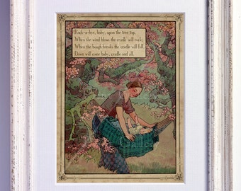Nursery Rhyme Rock A Bye Baby on the Tree Top Print Hush Wall Art Old Book Page Boy Girl Bedroom Kids Baby Room Antique Decor Vintage nr 179