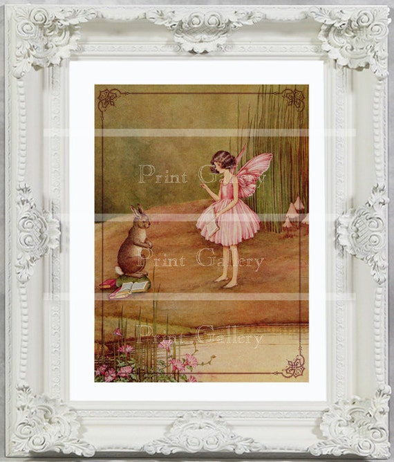 Victorian Nursery Fairy Print Girls Bedroom Baby Bunny Rabbit Pink Fairy Decor Vintage Picture Shabby Chic Princess Antique Painting ff 106