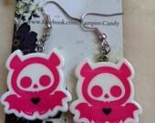 """Vampire Candy - """"Pink SkeleBat"""" Earrings"""
