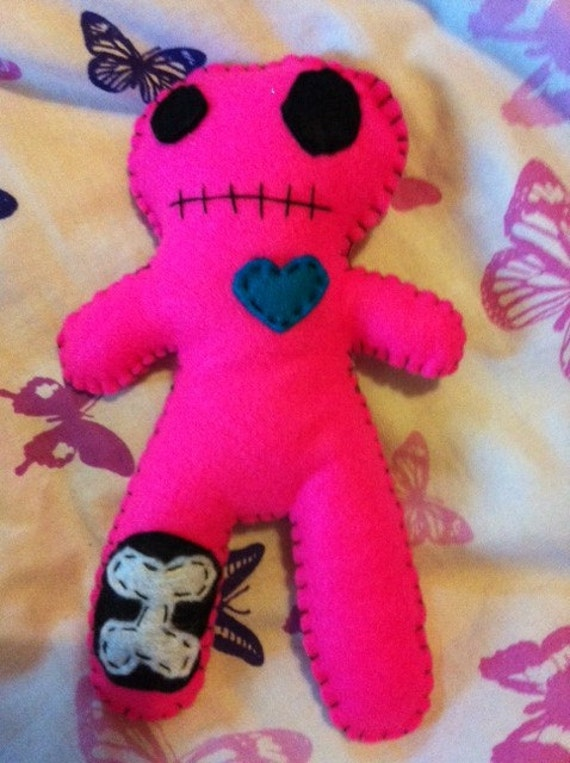 Vampire Candy - Plush Felt Hot Pink Zombie Doll