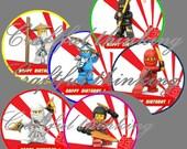 Lego Ninjago Printable Cupcake Toppers - Happy  Birthday