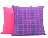 Pillow Set - Decorative Pillow - 18 x 18 - Vibrant Static Pattern - Throw Pillow - Cotton Backing - Pillow - Upcycled Pillow