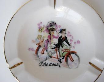 Sweetheart Love Jewelry Dish Ashtray Vintage Cupid / Set of 4