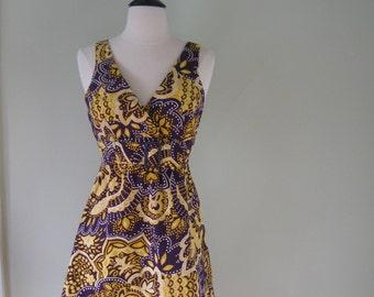 Vintage 60's Hawaiian Mini Dress//purple yellow//belted