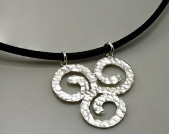 Black leather cord necklace, Spiral Pendant Necklace, Sterling Silver Spiral Pendant ,hammered silver Spiral, handmade