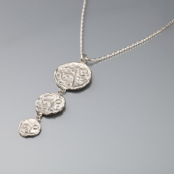 Coins -Sterling Silver Necklaces Jewelary Handmade Necklace Hammered Necklace Hammered Coins Necklaces  3 coins Pendant