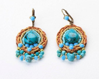 Drop Turquoise  Earrings. Beaded Embroidered. Bead Jewelry. Tribal Ethnic Jewelry. Colorful Jewelry