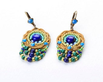Lapis Earrings. Bead Jewelry. Tribal Ethnic Jewelry. Colorful Jewelry
