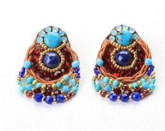 Lapis & Turquoise Earrings. Turquoise Jewelry. Bead Jewelry. Tribal Ethnic Jewelry. Colorful Jewelry
