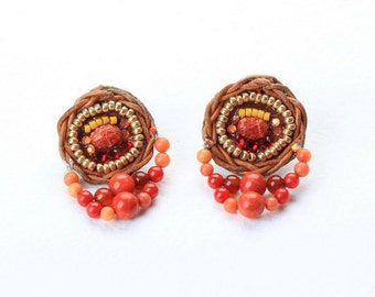 Coral Earrings. Bead Jewelry. Tribal Earrings. Ethnic Jewelry. Colorful Jewelry
