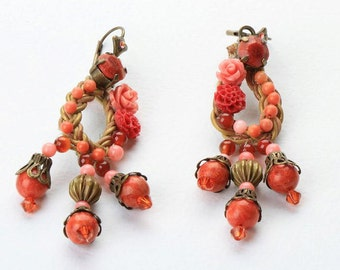 Long Coral Earrings. Romantic Style Earrings. Colorful Jewelry