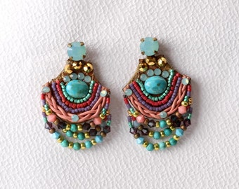 Turquoise  Earrings. Bead Jewelry. Tribal Earrings. Ethnic Jewelry. Colorful Jewelry