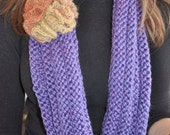 """Blue Violet Hand Knit Cowl """"Necklace"""" - an infinity cowl scarf"""