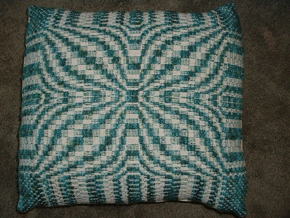 Vintage Bargello Pillow.  Aqua and Turquoise.