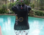 Awesome Black T-Shirt  With The Word Love and the Racquet coming out of the letter V. Medium