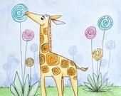 Lollipop Giraffe - 8x10 Watercolor Illustration Print