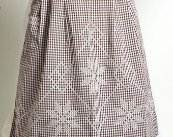 brown gingham vintage apron