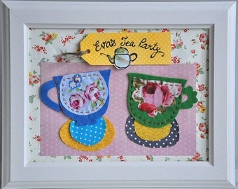 Made to order - Personalized kids wall art - tea party - floral, framed