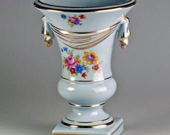 Vintage Soft Blue Vase, Gold Trim, Floral Decorated, Draped Effect, Similar to St.Regis American Porcelain