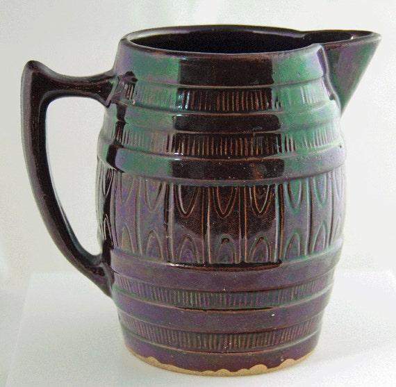 Early 1900s Dark Brown Salt Glazed Antique Pitcher Excellent Condition