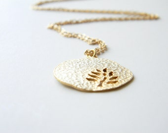 Gold Necklace - Leaf Necklace - Long Necklace - Matte Gold Chain with Gold Leaf Pendant