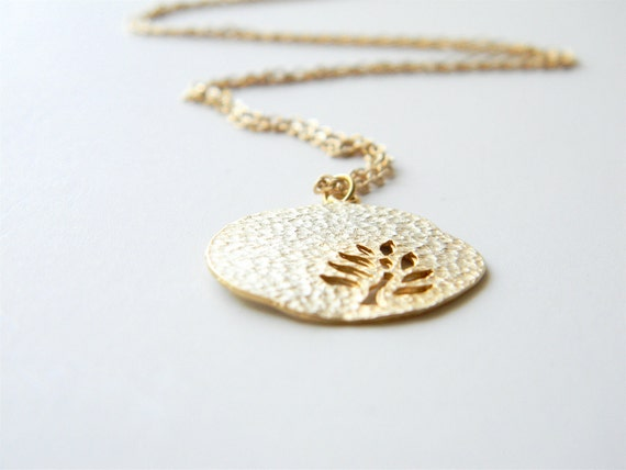 """Gold Necklace - Leaf Necklace - Long Necklace - 24"""" - Matte Gold Chain with Gold Leaf Pendant"""