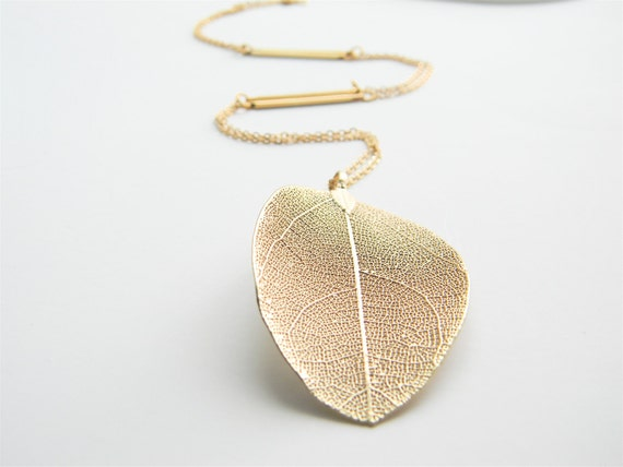 """Gold Necklace - Real Leaf Long Necklace - 26"""" - Matte Gold Chain Necklace with Gold Stick Connectors"""