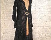 20s Liberty of London Silk Chiffon and Lace Coat