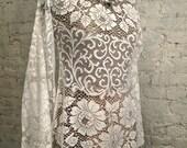 60s Mod White Lace Blouse Tunic