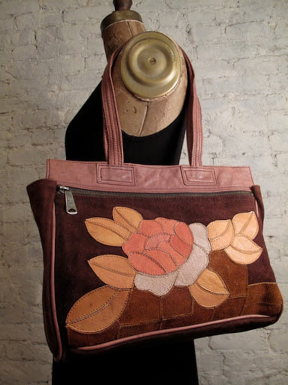 60s Handmade Chelvic Floral Suede and Leather Bag - Great for Laptop