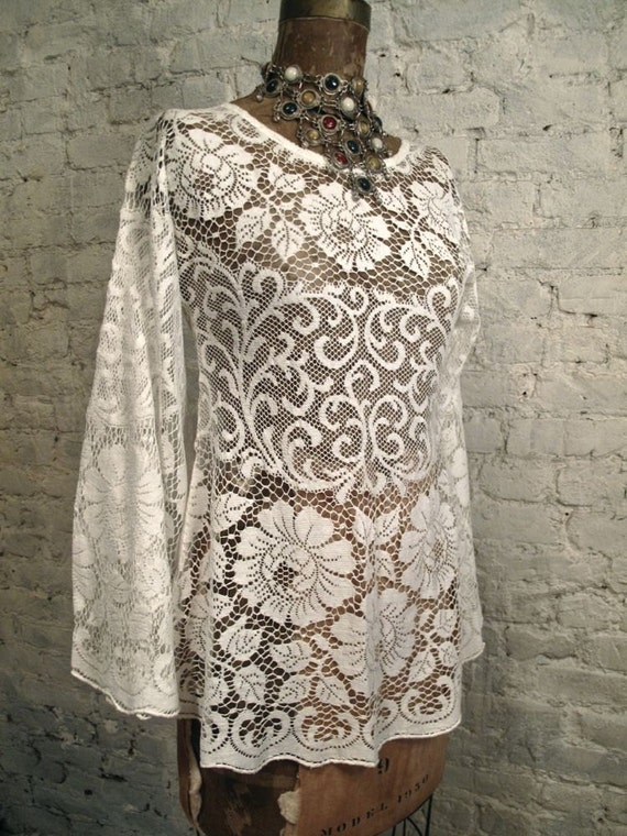 60s Mod White Lace Blouse Tunic