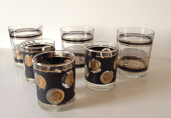 Modern Mid Century Gold & Black Barware Set