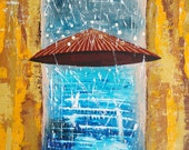 """Original Abstract Painting On Canvas, Autumn Painting, Original Artwork """"Rain"""" Colors: white, brown, blue, yellow 16x16"""
