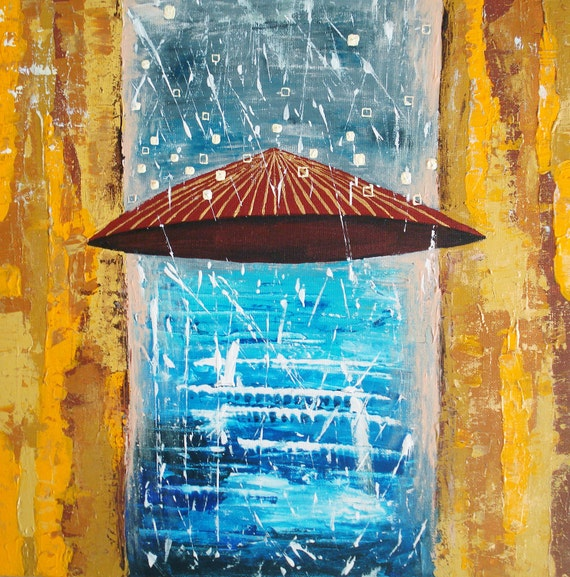 "Original Abstract Painting On Canvas, Autumn Painting, Original Artwork ""Rain"" Colors: white, brown, blue, yellow 16x16"