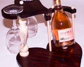 Handmade wooden wine bottle and wine glass rack. Nice gift idea.