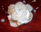 Felt white brooch hand crafted,bridal accessories, gift for her ,summer  trends, gift under 20