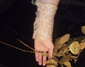 Nunofelted gold bracelet,OOAK,bridal jewelry, hand crafted, gift under 25