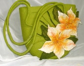 "OOAK felted Bag ""Bright Summer"", Gren Yellow, Summer fashion,Hand crafted,Eco friendly Gift for her"
