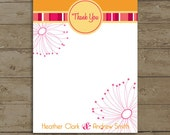 Wedding Thank You Card, Fun Stripes and Flowers, PDF Files or Deposit on Printing