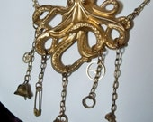 Octopus Charm Steampunk Necklace