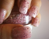 Pink Champagne Nail Lacquer -  Bubbling Pink Glitter Custom Nail Polish - Full Size Jar With Clear and Brush