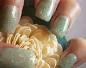 Aphrodisiac Nail Lacquer - Minty Green Glitter Custom Nail Polish - Full Size Jar With Clear and Brush